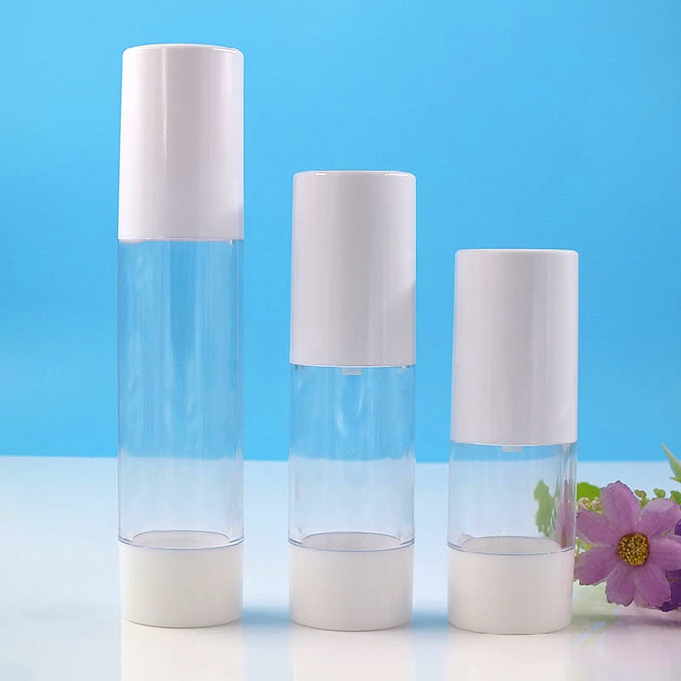 2000 X 15ML 30ML 50MLPortable  Refillable Cosmetic Airless Bottles Plastic Treatment Pump Lotion Containers With WhiteLids