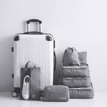 7 adet/takım eğlence seyahat çantası giysi iç çamaşırı sutyen ayakkabı ambalaj küp valiz hafta sonu gecelik organizatör kılıfı aksesuarları