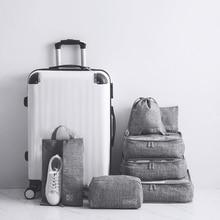 7 pièces/ensemble loisirs voyage sac vêtements sous vêtements soutien gorge chaussures emballage Cube fixation rétractable et mécanisme dattache de sécurité week end nuit organisateur pochette accessoires