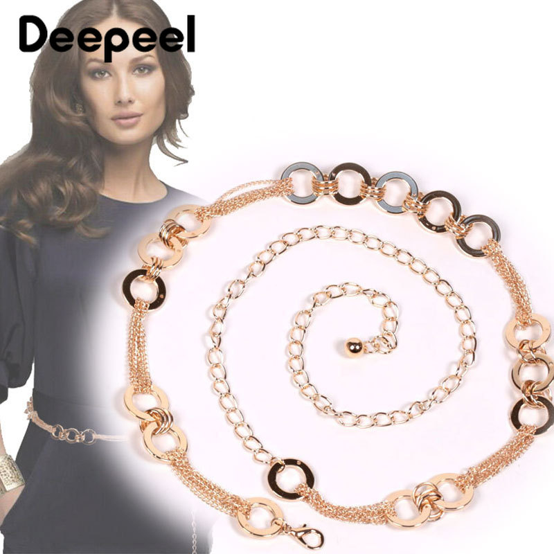 Deepeel 1pc/3pcs110cm Women Metal O Ring Patchwork Cunmmerbunds Brand Fashion Corset Chain Two Ways To Wear Dress AccessoryCB657