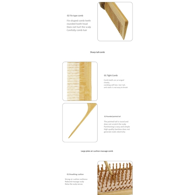 6PC/Set Wood Comb Healthy Paddle Cushion Hair Loss Massage Brush Hairbrush Comb Scalp Hair Care Healthy Bamboo Comb 4