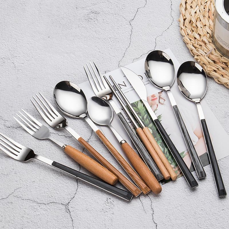 3pcs/set Portable Cutlery Set 304 Stainless Steel Dinnerware with Wooden Handle Dinner Luxury European Tableware Set