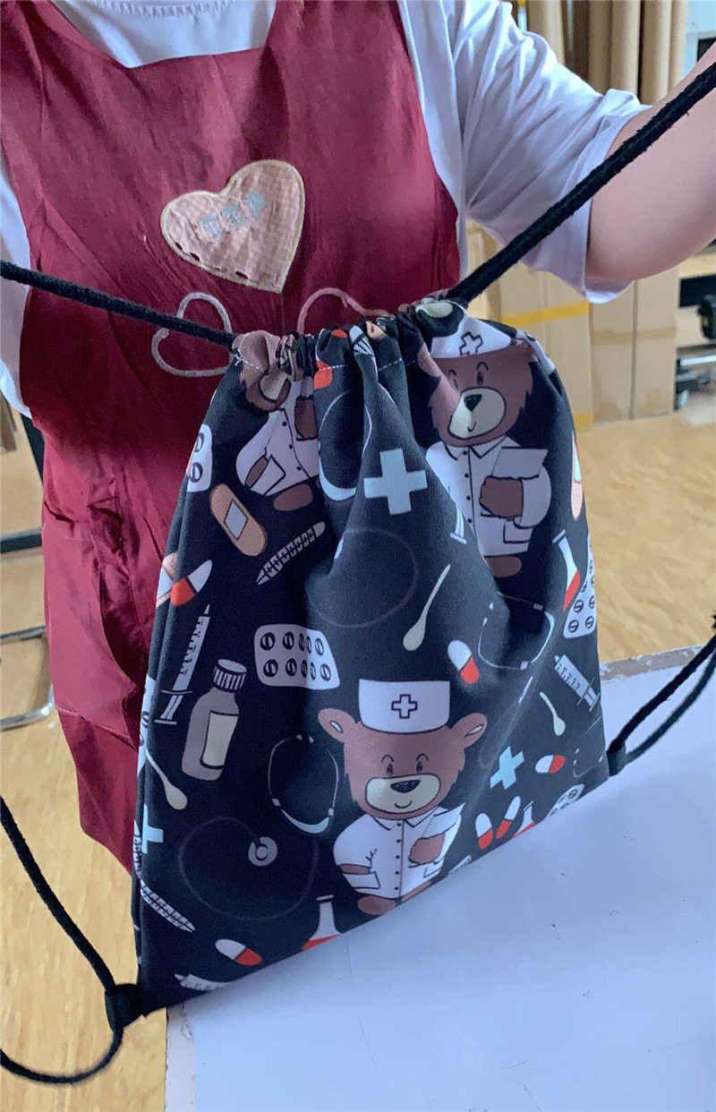 Galaxy/noite estrelada impressão com cordão saco de viagem feminina moda adolescente meninas lona softback mochila saco de armazenamento feminino