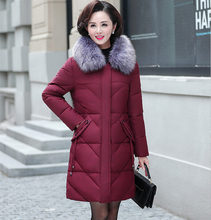 Artı boyutu 7XL 8XL uzun kış ceket kadınlar Parkas Mujer kapşonlu kürk yaka kış ceket kadın orta yaşlı anne kapitone ceket C5865