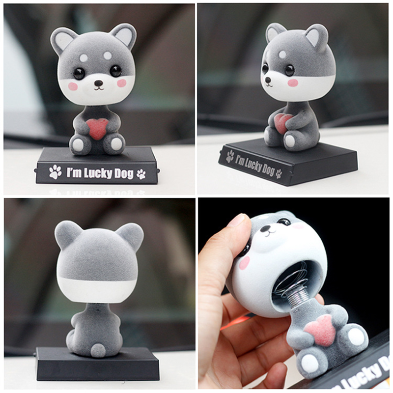 10cm Flocking Shiba Inu Shaking Head Doll Car decorations Cell Phone Seat Cute Car Dog Ornaments Desktop Toy phone Support Gifts