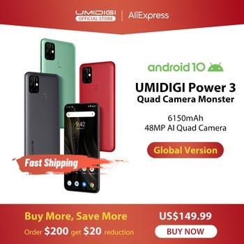 UMIDIGI כוח 3 48MP Quad AI מצלמה 6150mAh אנדרואיד 10 6.53 FHD  4GB64GB NFC נייד טלפון לשלושה חריצי 10W FastReverse טעינה