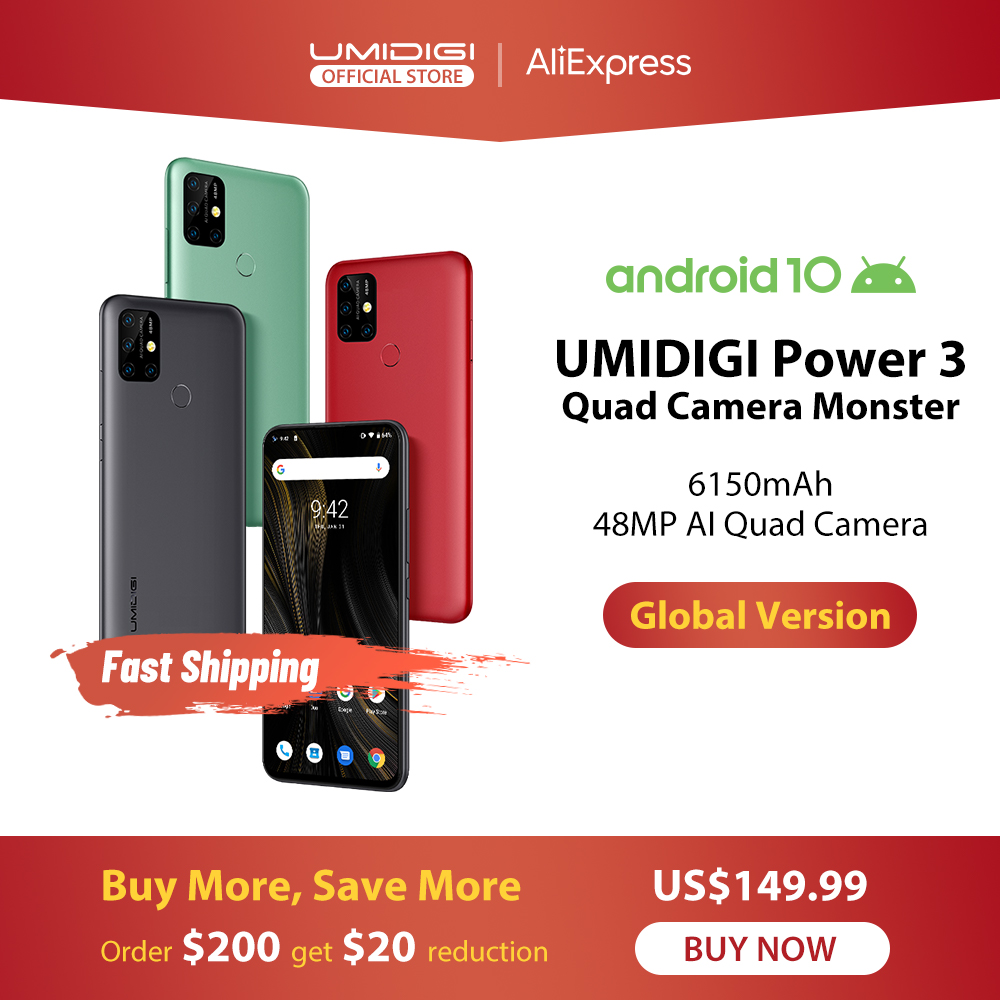 11336.95руб. 27% СКИДКА|UMIDIGI Power 3 48MP Quad AI камера 6150mAh Android 10 6,53