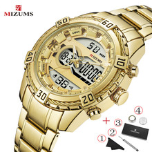 MIZUMS роскошные мужчины классический бизнес кварцевые часы мужская мода двойной дисплей нержавеющей стали наручные часы большой водонепроницаемый золотые часы