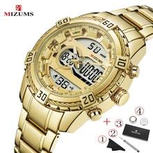 MIZUMS Luxury Men Classic Business Quartz Watch Mens Fashion Dual Display Stainless Steel Wristwatches Big Waterproof Gold Clock