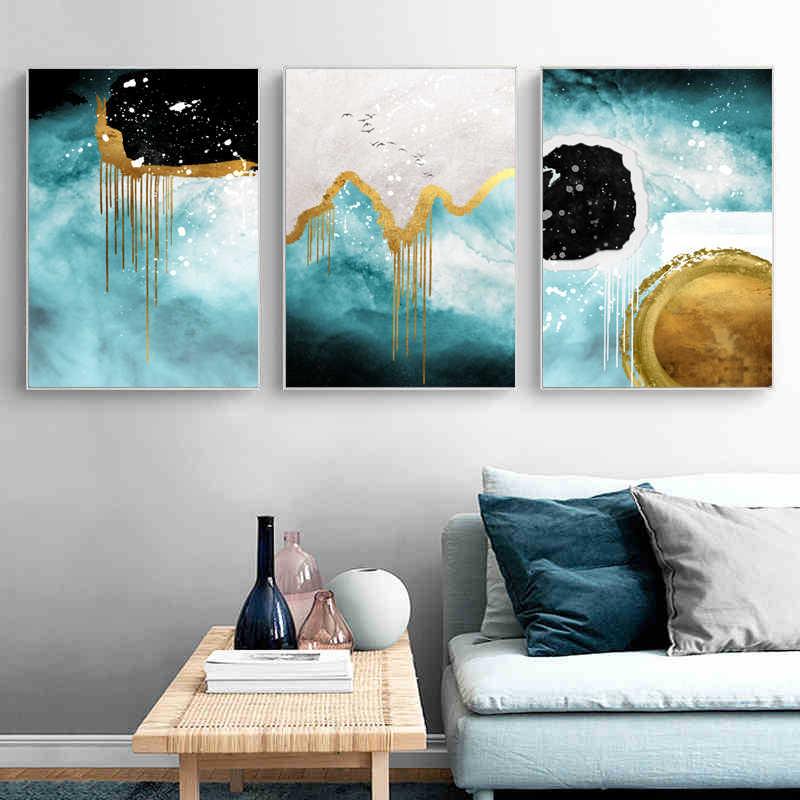 Abstrak Emas Hitam Putih Biru Mekar Pemandangan Poster Cetak Kanvas Lukisan Gambar Dinding Seni Kamar Tidur Dekorasi Modern