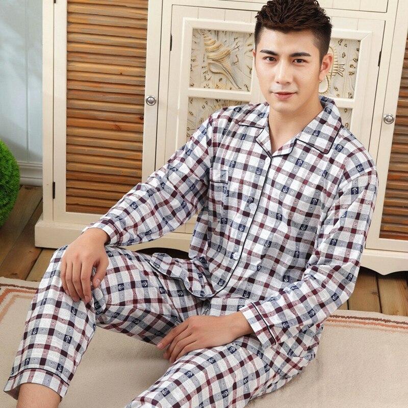Pajamas Sleepwear-Suit Clothing Long-Sleeve Male Men Casual Home 100%Cotton Plaid