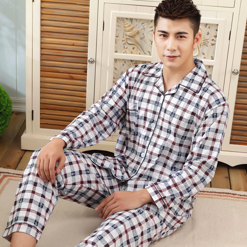 Plaid Pajamas For Men 100% Cotton Long Sleeve Pajamas Sets Of Sleep Top & Pants Male Pijama Casual Home Clothing Sleepwear Suit