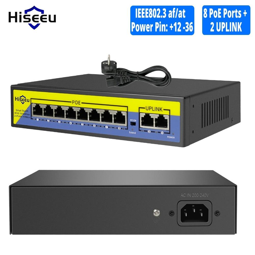 48V POE Switch 8 Ports 2 Uplink 10/100Mbps IEEE 802.3 Af/at For IP Camera/CCTV Security Camera System/Wireless AP