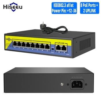 Conmutador POE de 48V, 8 puertos, 2 puertos, 10/100Mbps, IEEE 802,3 af/at para cámara IP/Sistema de cámaras de seguridad CCTV/inalámbrico AP