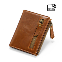 RFID Simple Cowhide First Layer Oil Wax Leather Wallet Men's Retro Double Zipper Short Wallet Purse Casual Vertical Card Bag