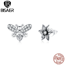 BISAER Blossom Flower & Bee Stud Earrings 925 Sterling Silver Small Earrings Cubic Zirconia For Women Retro Jewelry GXE884 bisaer stud earrings real 925 sterling silver star shape long earrings for women clear cubic zirconia fashion jewelry hve154