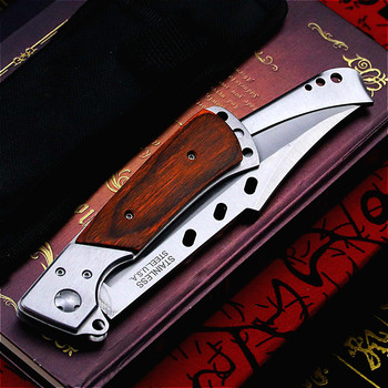 PEGASI  Colour wood handle folding swallowtail knife jungle hunting folding knife U.S.A Tactical folding knife body knife 2