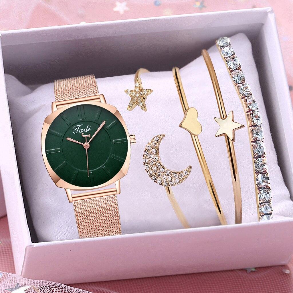 Tadi Brand Women Rose Gold Stainless Steel Mesh Watches Luxury Ladies Quartz Analog Wristwatches Reloj Mujer