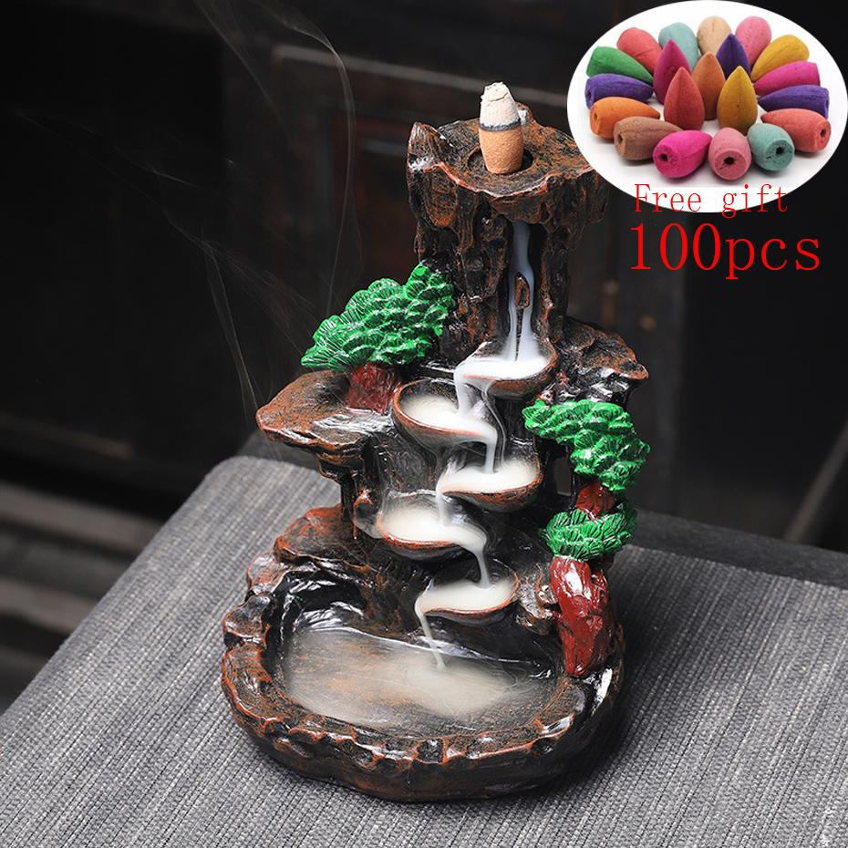 Multi style Mountains River Waterfall Zen Incense Burner Fountain Backflow Aroma Smoke Censer Holder Office Home Unique Crafts 1