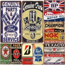 Carteles de hojalata Vintage coche matrícula Ruta 66 Gas aceite NGK ESSO BP placa Poster Bar tienda del Club garaje decoración de la pared del hogar