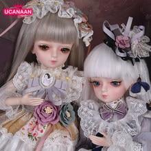 Ucanaan 1/4 bjd bonecas 45cm bola articulada boneca olhos mutáveis com roupas princesa vestido peruca sapatos maquiagem meninas diy vestir-se brinquedo