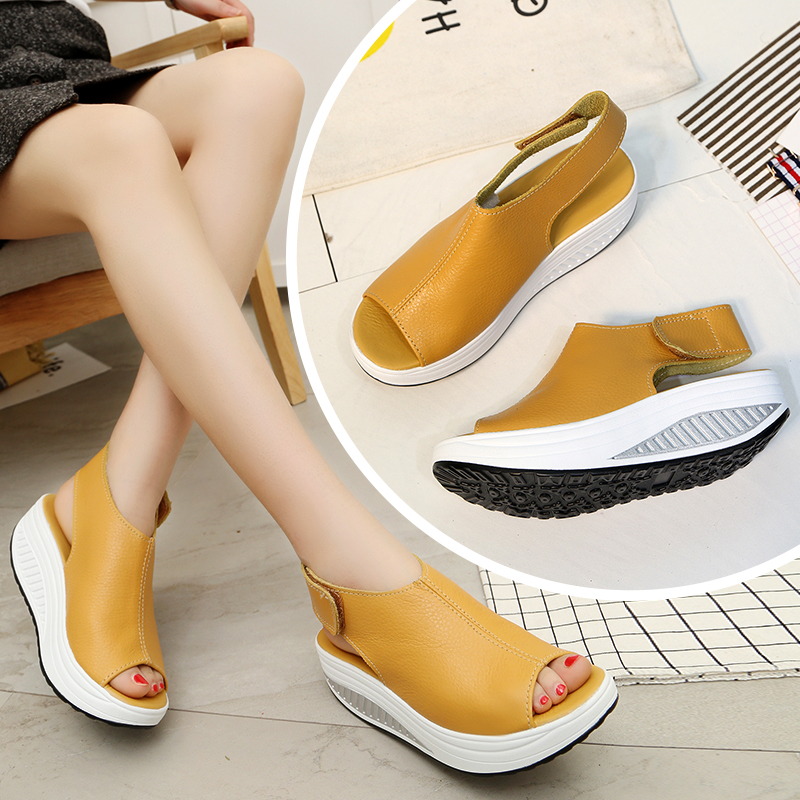 2020 5 Styles Summer Women Sandals Platform Wedges Sandals Leather Swing Peep Toe Casual Shoes Women Walk Shoes Flats Size 35-43