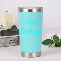 Leo design parede dupla caneca de aço inoxidável copo garrafa de água copo do carro verde flor impressão logotipo caneca|Garrafa térmica e frascos a vácuo| |  -