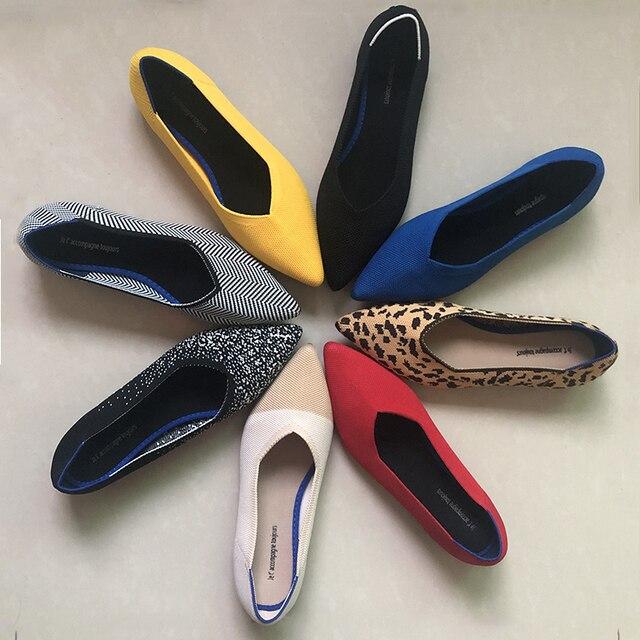 2020 새로운 여성 캐주얼 플랫 럭셔리 브랜드 얕은 입 지적 발레 여성 보트 신발 양모 니트 출산 로퍼 혼합