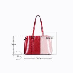 Image 3 - Dienqi saffiano sacos senhoras couro genuíno bolsa de ombro feminino luxo bolsas de couro real grande boston messenger bags vermelho