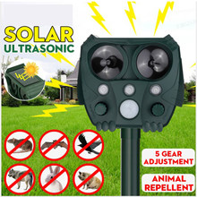 Solar Powered Animal Repeller Solar Ultrasonic Animal Repellent Deterrent Dog/Cat/Bird Repeller Frighten Animals sonar Repellent
