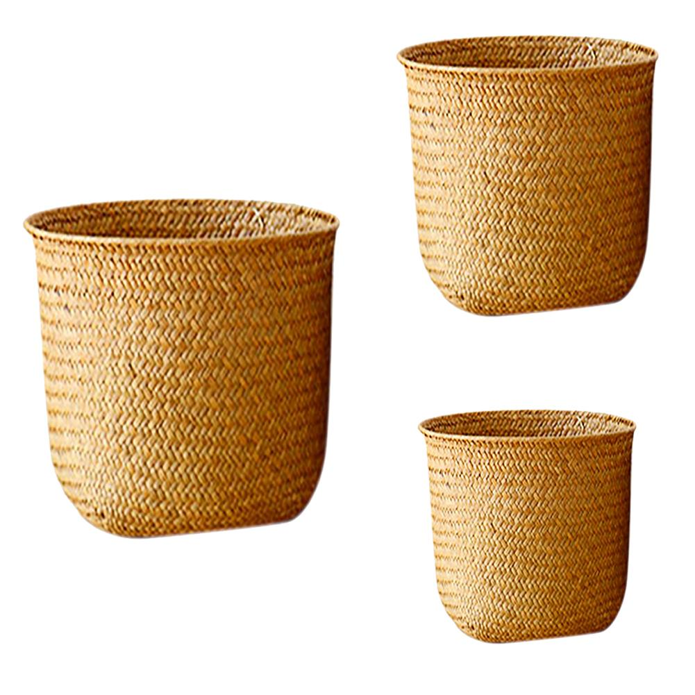 Nordic Style Hand-woven Storage Basket Flower Pot Fruit Rattan Basket Plant Pot Container Collapsible Seagrass Laundry Basket(China)