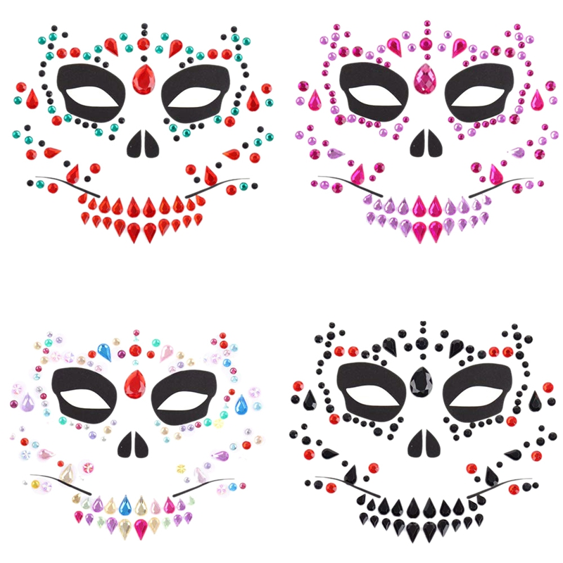 4 Pieces Day Of The Dead Halloween Temporary Face Tattoos Sugar Skull Face Tattoos Rose Flower Crown Headband For Halloween Masq