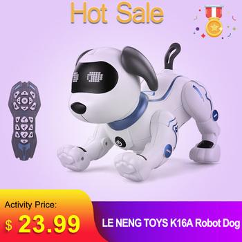 LE NENG zabawki K16A elektroniczne zwierzęta domowe Robot pies z pilotem zabawki muzyka piosenka zabawka dla dzieci zabawki prezent urodzinowy tanie i dobre opinie 3 lat Ready-to-go 3 7V Electric About 35mins