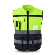 Colete reflexivo de alta visibilidade roupas de trabalho da motocicleta ciclismo esportes ao ar livre reflexivo roupas de segurança jaqueta reflexiva