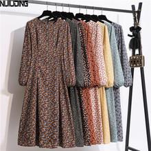 NIJIUDING 2020 nowe w kwiatki drukowane sukienki szyfonowe damskie jesień z długimi rękawami O-Neck wysokiej talii szczupła długa sukienka w stylu Vintage Vestidos tanie tanio CN (pochodzenie) Wiosna jesień COTTON Poliester A-LINE Osób w wieku 18-35 lat Autumn dress Pełna Puff rękawem WOMEN