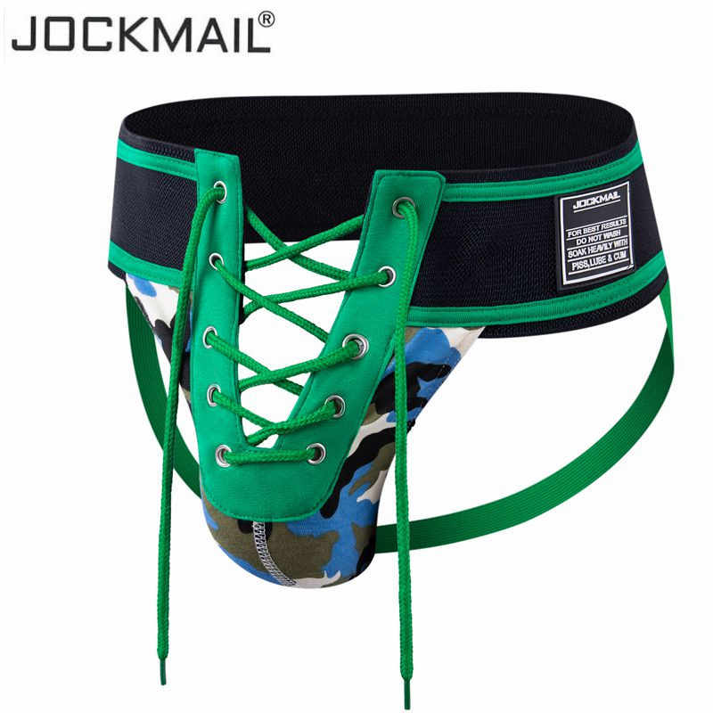 "Jockmail Sexy Thong Men Jockstrap Underwear Lacing Camouflage Green,3.15"" Waistband Footballer Lace Up Open Gay Men Underwear"