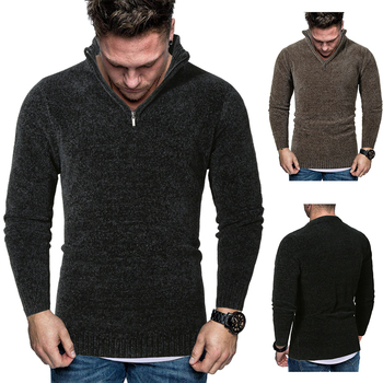 MarKyi fashion winter mens pullover v neck sweater new brand men stand collar zipper knitted