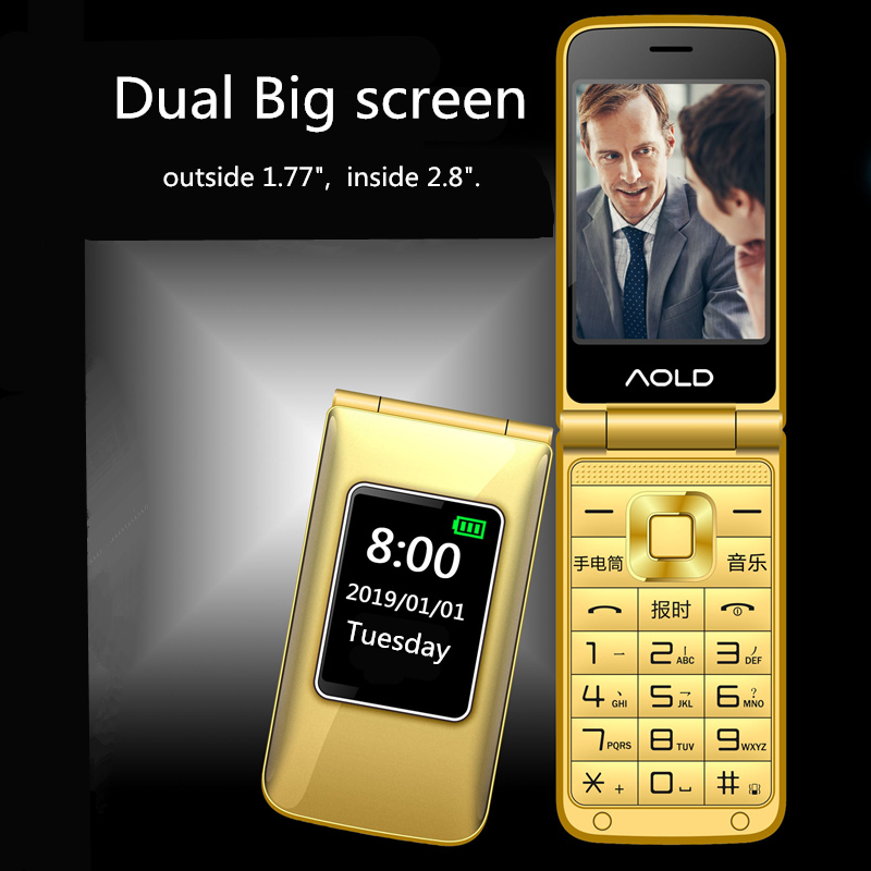 Flip Mobile Phone For Old Senior People Speed Dial Large Russian Key Dual Sim Metal Case Torch Extra Light Slim Low Price
