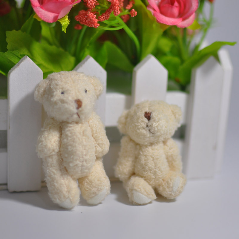 2/4PCS Mini Joint Bear Stuffed Plush Toys 6.5cm Cute White Teddy Bears Pendant Dolls Gifts Birthday Wedding Party Decor