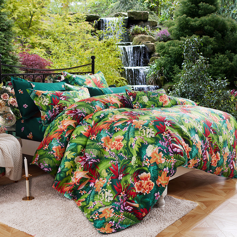 Reactive Printing And Dyeing Twill Thick Warm Plant Cashmere Wool Brushed Velvet Four-piece Set Bedding Article