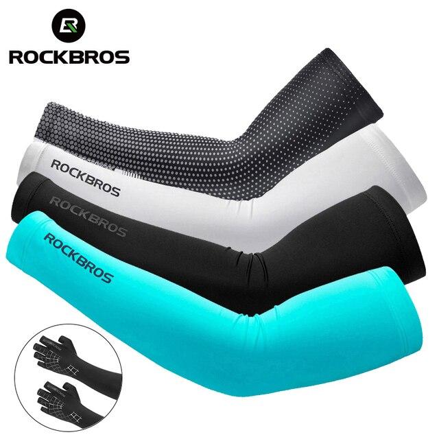 Rockbros tecido de gelo respirável proteção uv correndo mangas braço fitness basquete cotovelo almofada esporte ciclismo ao ar livre aquecedores braço 1