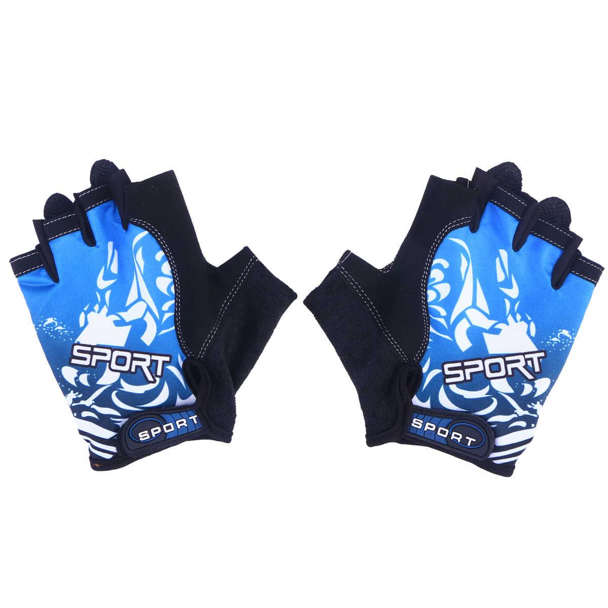 1 çift açık spor yarım parmak eldiven kaymaz nefes spor eldiveni bisiklet tırmanma balıkçılık sürme boyut M (mavi)