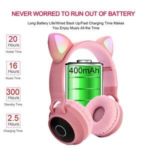 Image 5 - Mignon fille Bluetooth 5.0 musique casque sans fil RGB lumière LED chat oreille stéréo enfants casque de jeu casque pour téléphone mobile cadeau
