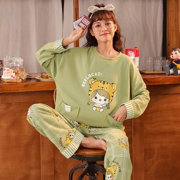 New style pajamas women's long-sleeved cartoon cute spring and autumn ladies student home service two-piece cotton pajamas image