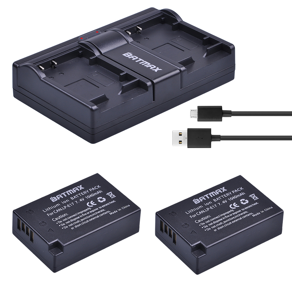 Batmax Dual-Charger Lpe17-Battery 750D LP-E17 800D Canon for EOS M3 M5 M6 760d/T6i/T6s/.. title=