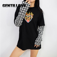 Women Heart Print Plaid Patchwork Long Sleeve Flaming Sweatshirt 2019 Autumn Winter Black Checkboard Pullover Hoodies Fashion