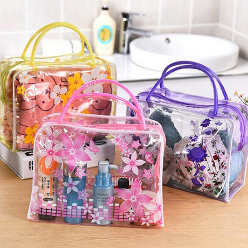 PVC Transparent Cosmetic Bag Women Make Up Bag Flowers Printed Toiletry Bags Makeup Organizer Case For Travel Cosmetic Bag Lady