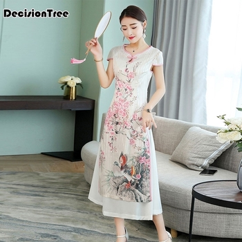 2020 woman white print aodai vietnam traditional clothing ao dai vietnam dress vietnam costumes improved cheongsam dress фото