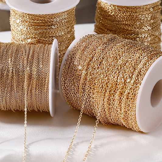 Color-protected copper bag gold 0 word flash chain plated 14k gold handmade necklace jewelry bracelet diy accessory loose chain
