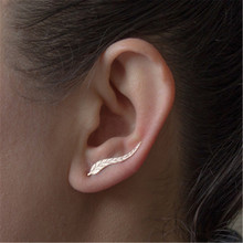 Female Women Girl Stud Earrings Vintage Cute Metal U Leaf Simple Fashion Jewelry Accessories Wholesale-YR-W17